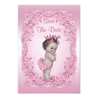Pink Vintage Princess Save The Date Baby Shower 9 Cm X 13 Cm Invitation Card