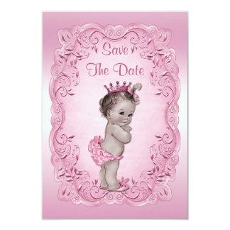 Pink Vintage Princess Save The Date Baby Shower 9 Cm X 13 Cm Invitation Card