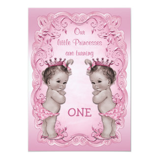 Pink Vintage Princess Twins 1st Birthday Card
