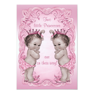 Pink Vintage Princess Twins Baby Shower 13 Cm X 18 Cm Invitation Card
