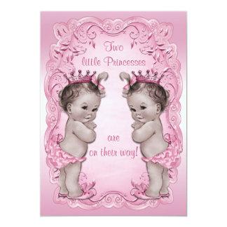 Pink Vintage Princess Twins Baby Shower 13 Cm X 18 Cm Invitation Card