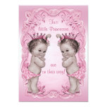 Pink Vintage Princess Twins Baby Shower Invite