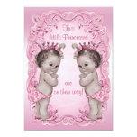 Pink Vintage Princess Twins Baby Shower Invite