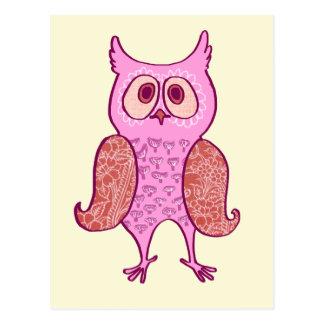 Pink vintage retro owl postcard