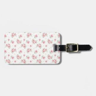 Pink vintage rose bag tag