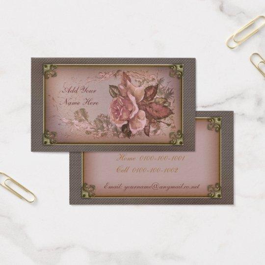 Pink Vintage Rose Business Card
