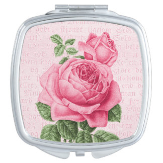 Pink vintage rose girly mirror travel mirror