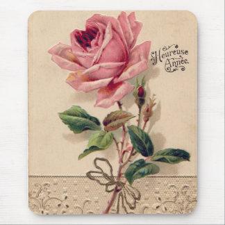 Pink Vintage Rose Mouse Mat