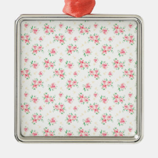 Pink vintage rose Silver-Colored square decoration