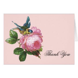 Pink Vintage Rose Thank You Note Card