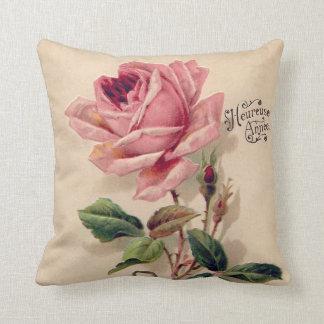 Pink Vintage Rose Throw Cushion