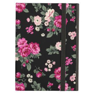Pink Vintage Roses Black Background iPad Air Case