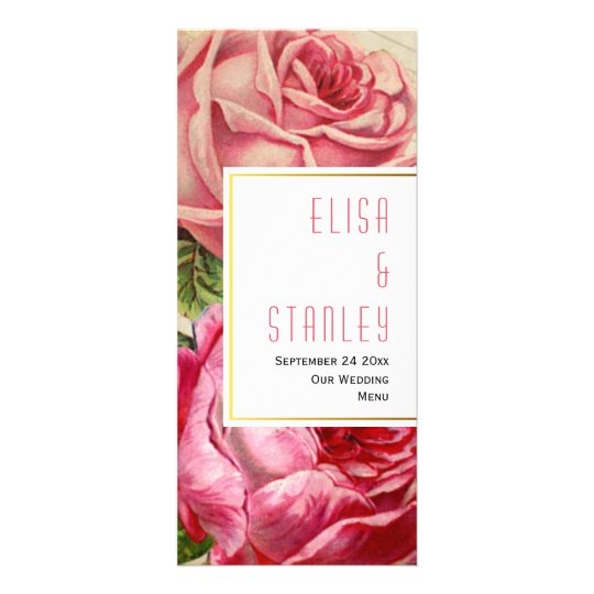 Pink vintage roses floral wedding menu card