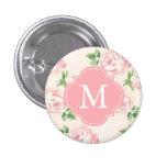 Pink Vintage Roses Pattern Monogrammed 3 Cm Round Badge
