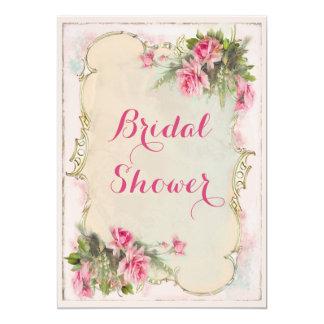 Pink Vintage Roses Shabby Chic Bridal Shower 13 Cm X 18 Cm Invitation Card