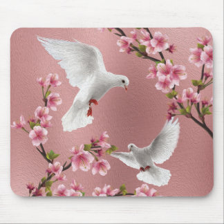 Pink Vintage Style Doves & Cherry Blossom Mouse Pad
