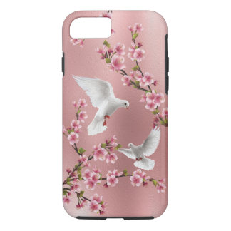 Pink Vintage Style Doves & Cherry Blossom Painting iPhone 8/7 Case