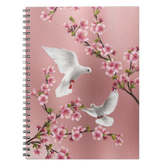 Pink Vintage Style Doves & Cherry Blossom Painting Spiral Notebook