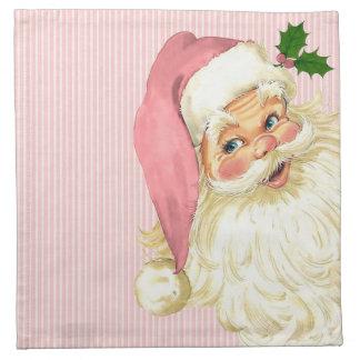 Pink Vintage Victorian Santa Claus Napkin