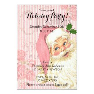 Pink Vintage Victorian Santa Claus Roses 9 Cm X 13 Cm Invitation Card