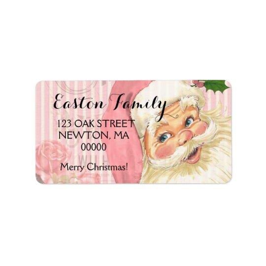 Pink Vintage Victorian Santa Claus Roses Address Label