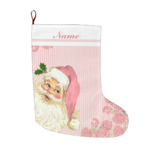 Pink Vintage Victorian Santa Claus Roses Large Christmas Stocking
