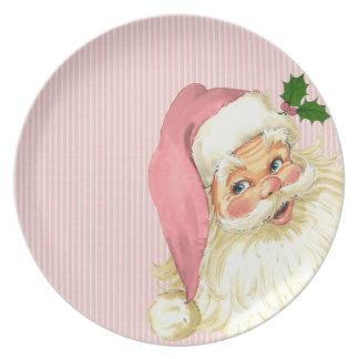 Pink Vintage Victorian Santa Claus Shabby Plate
