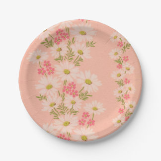 Pink vintage wallpaper paper plates with daisies 7 inch paper plate