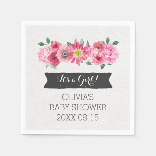Pink Vintage Watercolor Floral Baby Shower Disposable Napkins