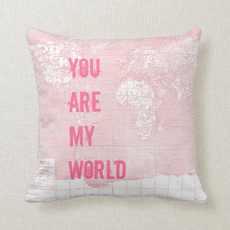 Pink Vintage World Map Pillow