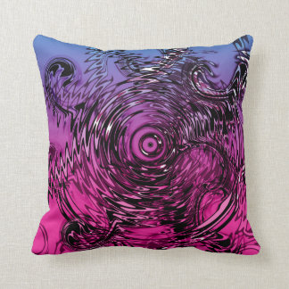 Pink violet and black swirls cushion
