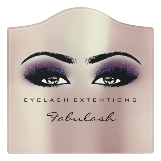 Pink Violet Glitter Gold Beauty Lashes Makeup Door Sign