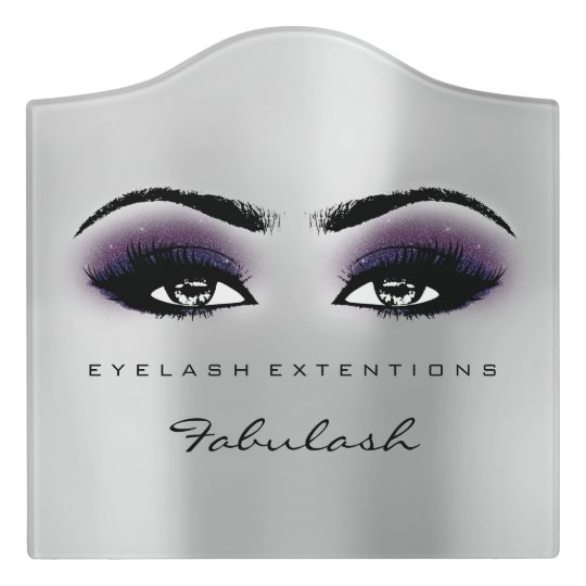 Pink Violet Glitter Grey Beauty Lashes Makeup Door Sign