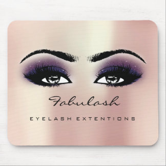 Pink Violet Glitter Name Beauty Lashes Makeup Mouse Mat