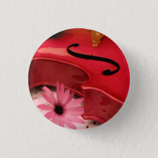 Pink Violin and daisy pin back button