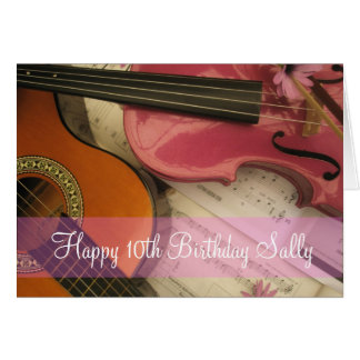 Pink Violin and Guitar Custom age Birthday Card