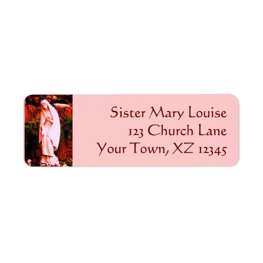 Pink Virgin Mary Statue Return Address Label
