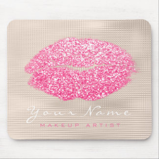 Pink Vivid Ivory Glitter Name Makeup Lips Kiss Mouse Mat