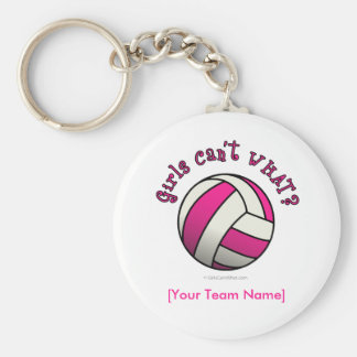 Pink Volleyball Basic Round Button Key Ring