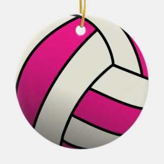 Pink Volleyball Christmas Ornament