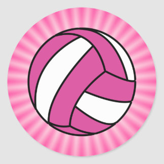 Pink Volleyball Classic Round Sticker