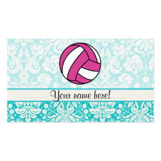 Pink Volleyball; Damask Pattern Business Card Template