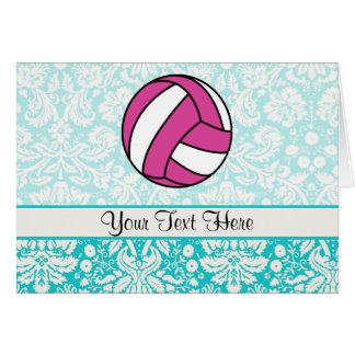 Pink Volleyball; Damask Pattern Card