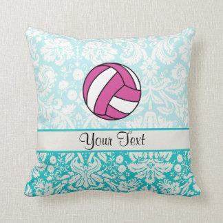 Pink Volleyball; Damask Pattern Cushion