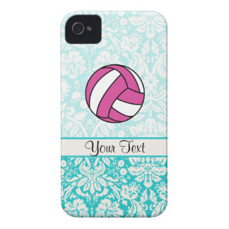 Pink Volleyball; Damask Pattern iPhone 4 Case-Mate Cases