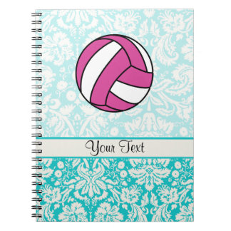 Pink Volleyball; Damask Pattern Notebook