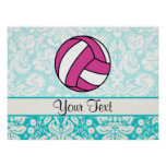 Pink Volleyball; Damask Pattern Poster