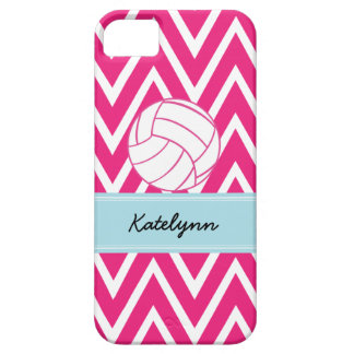 Pink Volleyball Modern Chevron Zigzag iPhone Case