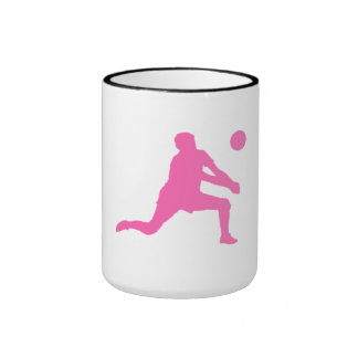 Pink Volleyball Set Silhouette Coffee Mug