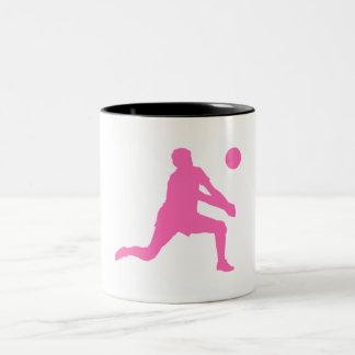 Pink Volleyball Set Silhouette Coffee Mugs